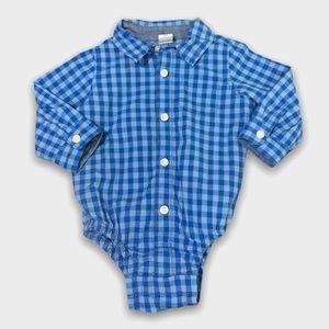 4/$20🥳 Blue Long Sleeve Checkered Onesie